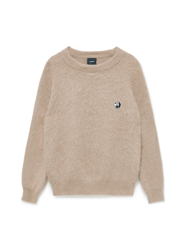 [NONA9ON] TIGER SKULL EMBROIDERED ANGORA KNIT PULLOVER