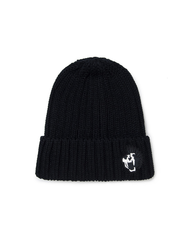 [NONA9ON] KROAR EMBROIDERED RIBBED-KNIT BEANIE