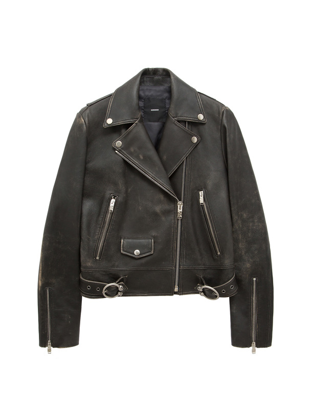 [NONAGON] PISTOL APPLIQUED LEATHER JACKET