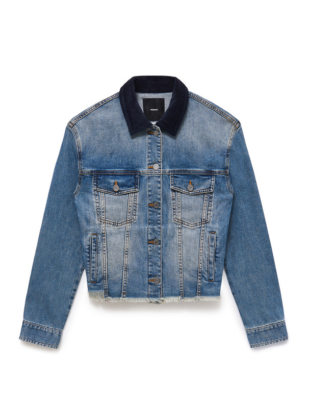 [NONA9ON] LETTERING APPLIQUED DENIM JACKET