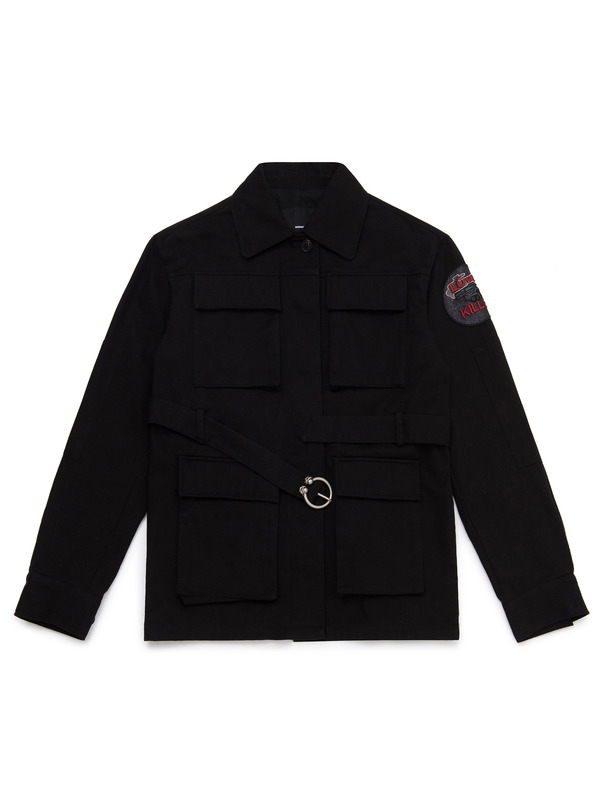 "[NONAGON] ""LOVE KILLS"" APPLIQUED MILITARY JACKET"