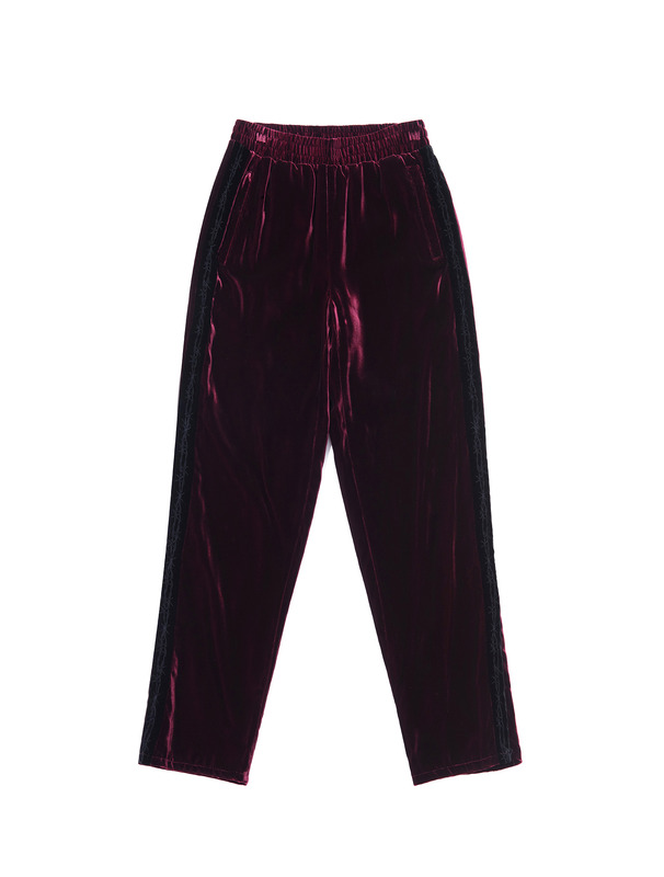 [NONA9ON] BARBWIRE EMBROIDERED VELVET PANTS
