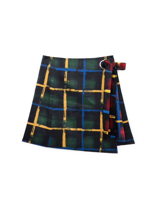 [NONAGON] TARTAN CHECKED SKIRT
