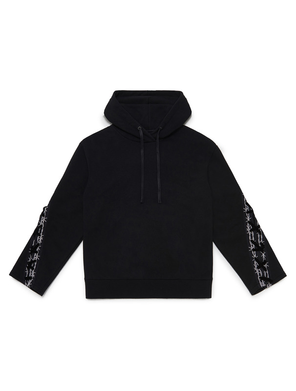 [NONA9ON] BARBWIRE TAPE LACE-UP HOODIE