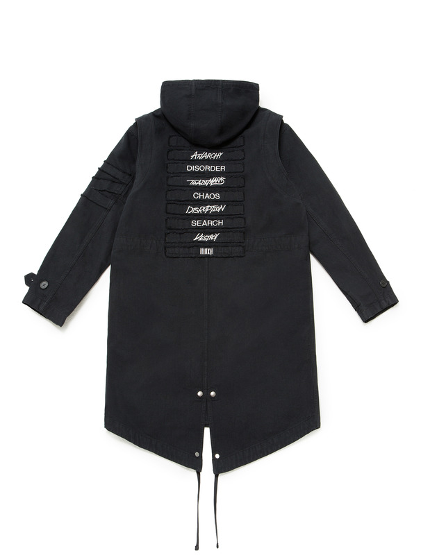 [NONA9ON] LETTERING APPLIQUED OXFORD LONG JACKET