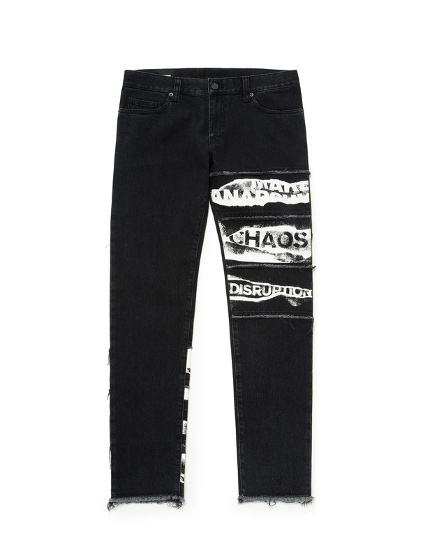 [NONA9ON] LETTERING GRAPHIC PATCHWORK JEANS