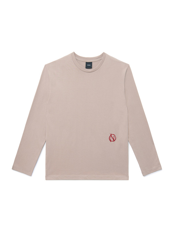 [NONAGON] LETTERING APPLIQUED LONG SLEEVE T-SHIRT