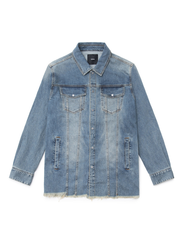 [NONA9ON] LETTERING APPLIQUED DENIM SHIRT JACKET