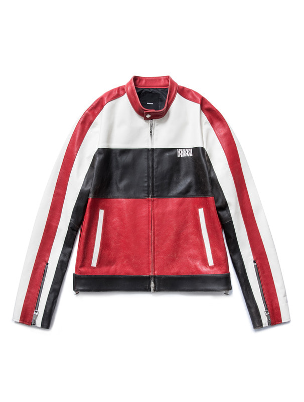 "[NONAGON] ""REACH OUT"" COLOR BLOCK LEATHER JACKET"
