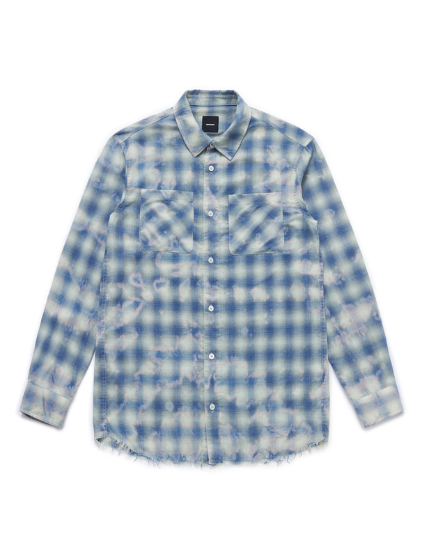 [NONAGON] BLEACH DYED CHECK SHIRT