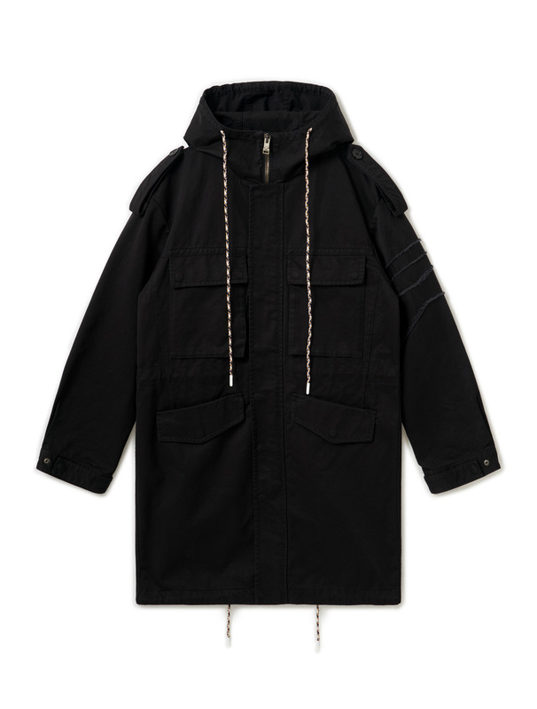 [NONAGON] CHECKERBOARD LONG HOODED COAT
