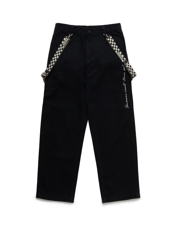 [NONAGON] LETTERING EMBROIDERY SUSPENDER JEANS
