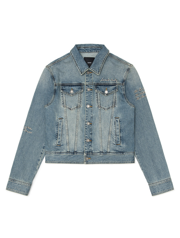 [NONAGON] LETTERING EMBROIDERY DENIM JACKET
