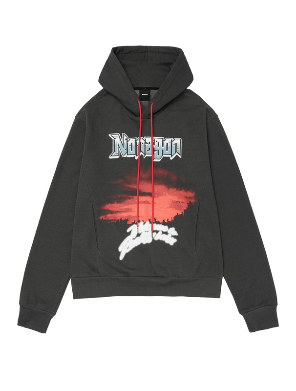 [NONAGON] GRAPHIC PIGMENT WASHED JERSEY HOODIE