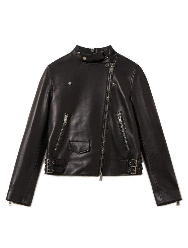 [NONA9ON] STRING ZIP LEATHER JACKET