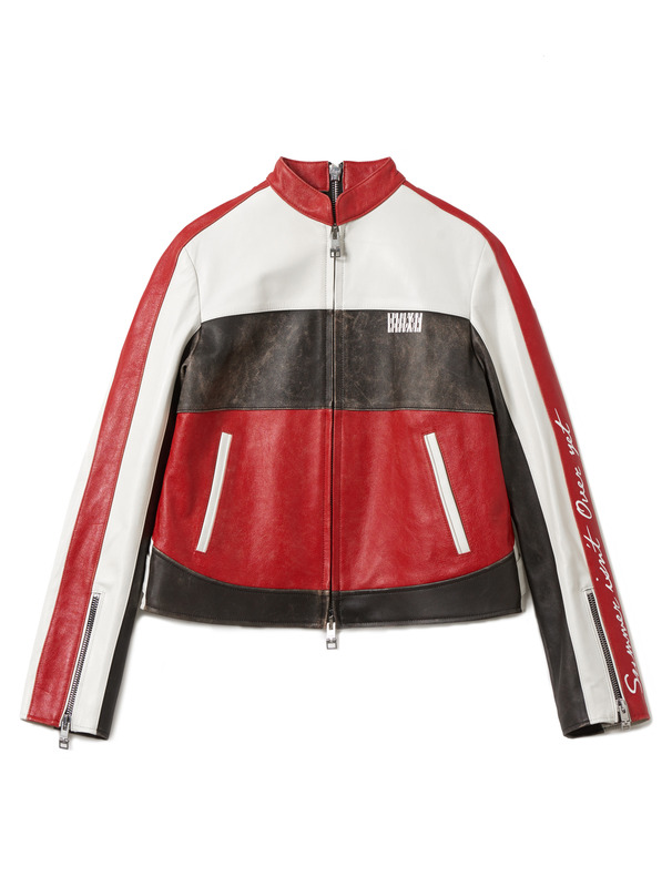 [NONAGON] COLOR BLOCK LEATHER JACKET