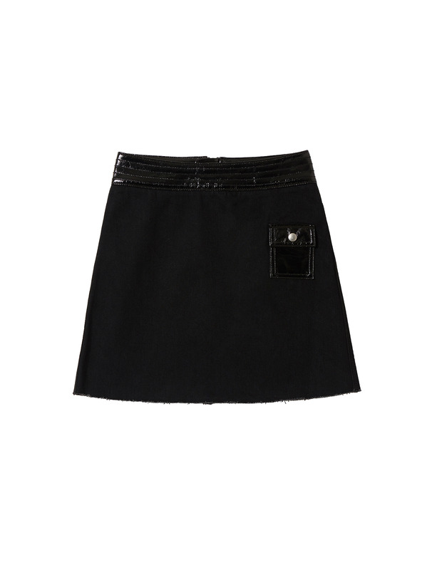 [NONAGON] BLACK SYNTHETIC PATCH SKIRT