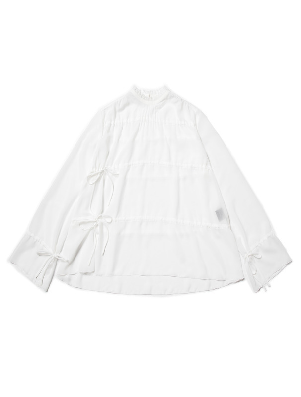[NONAGON] SHEER RUFFLE BLOUSE