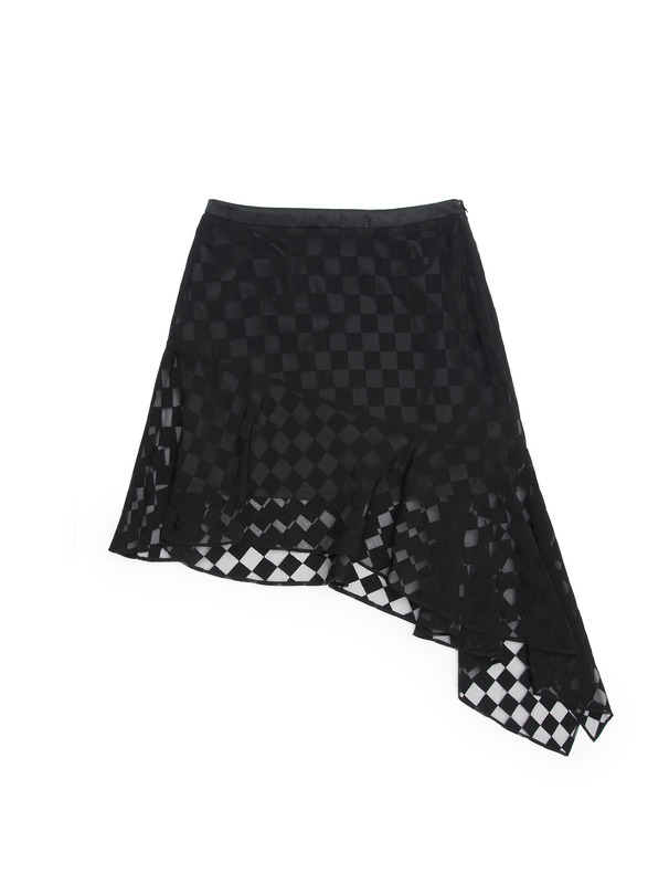 [NONAGON] SHEER CHECKERBOARD MINI SKIRT