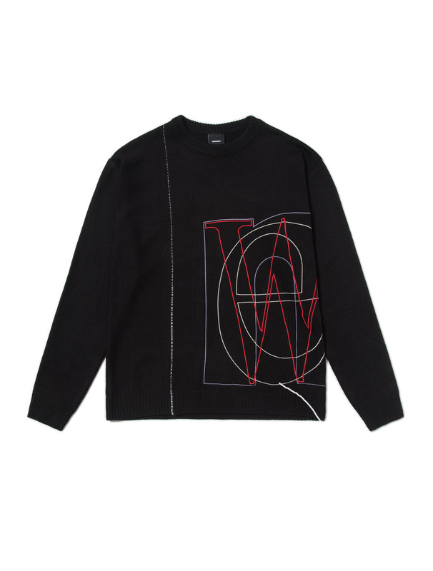 [NONAGON] CONTRASTED ARM KNIT PULLOVER