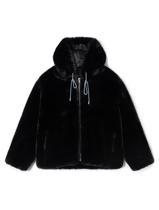 [NONAGON] EMBROIDERED FAUX FUR HOODED JACKET