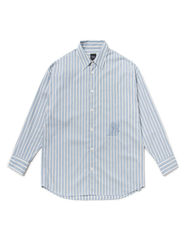 [NONAGON] OVERSIZED EMBROIDERY STRIPE SHIRT
