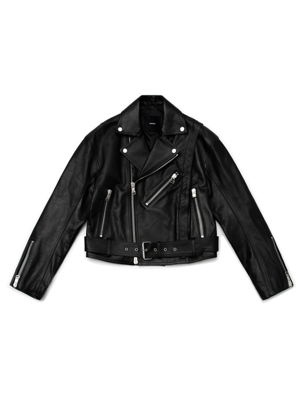 [NONAGON] DETACHABLE ARM LEATHER JACKET