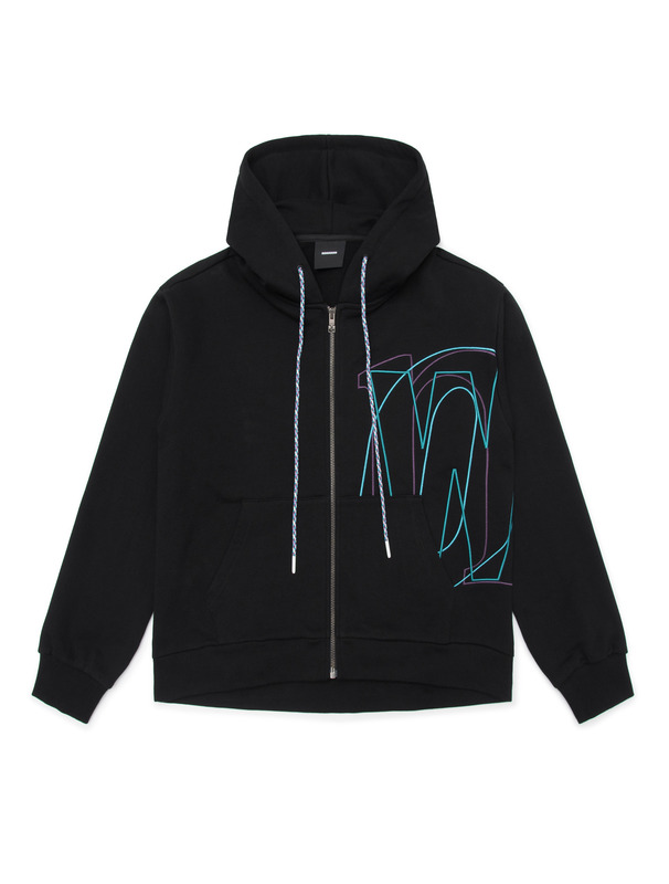 [NONAGON] EMBROIDERED ZIP-UP HOODIE