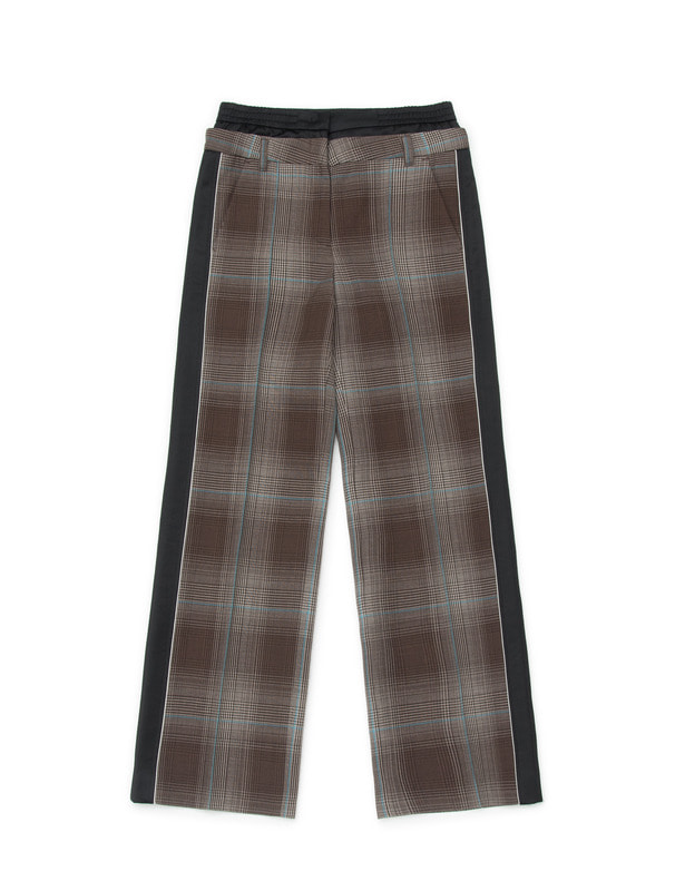 [NONAGON] CHECKED DOUBLE WAIST PANTS