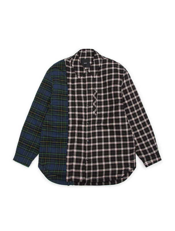 [NONAGON] QUILTED DETACHABLE ARM CHECK SHIRT JACKET