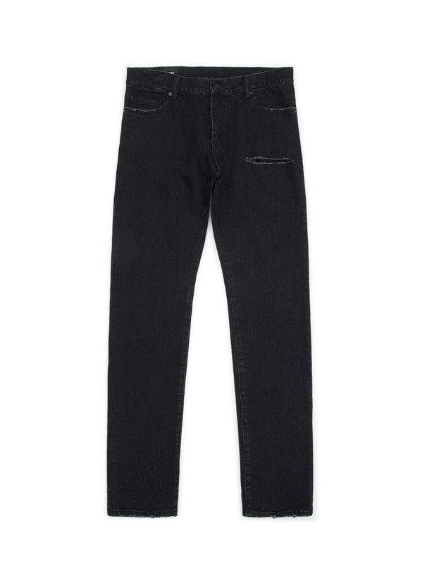 [NONAGON] CONTRASTED CHECK POCKET JEANS