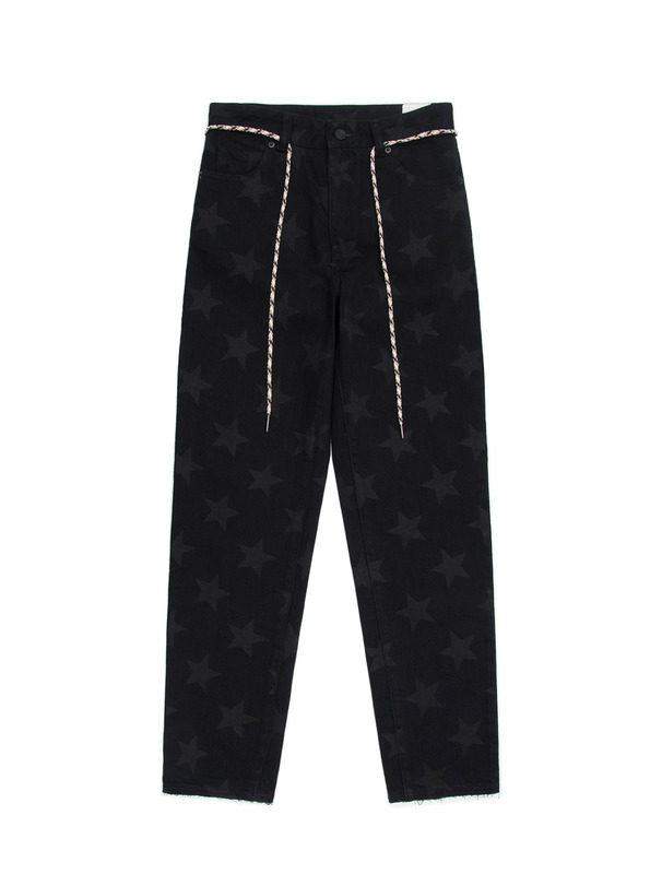 [NONAGON] 'STAR'PRINT DENIM FLARE PANTS