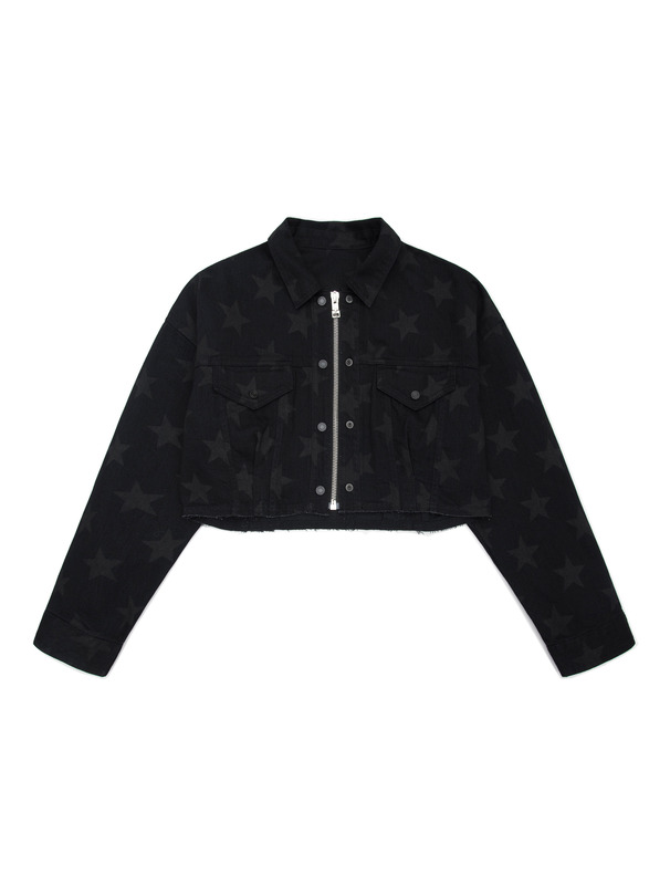 [NONAGON] 'STAR'PRINT DENIM ZIP-UP JUMPER