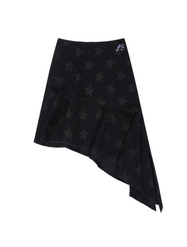[NONAGON] 'STAR'PRINT DENIM FLARE SKIRT