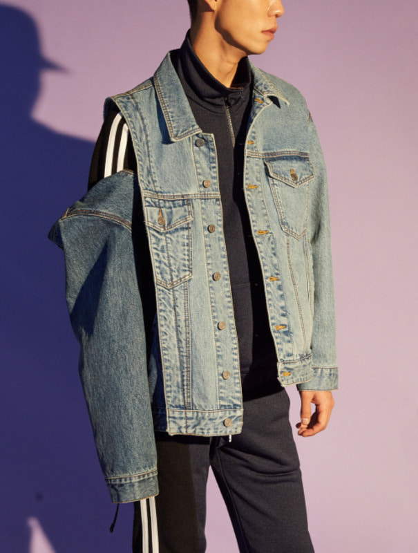 [NONAGON] DETACHABLE ARM DENIM JACKET